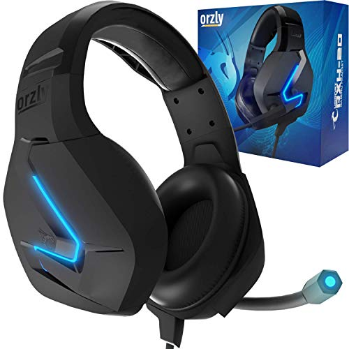 Orzly Cuffie da Gioco Bass Stereo per PS5 Playstation 5, PS4, Xbox Series X|S, Xbox One, Nintendo Switch, Google Stadia, PC, Mac, Laptop Hornet RXH-20 Cuffie Gaming con Microfono [Edizione Abyss]