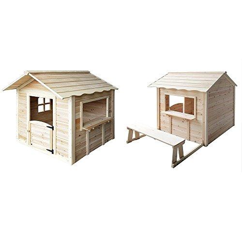 Home Deluxe - Spielhaus - Der große Palast Natur - mit Bank - Inkl. komplettem Zubehör
