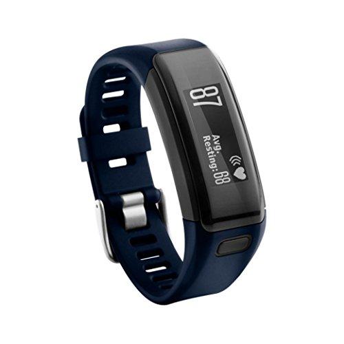 SHOBDW Garmin Vivosmart HR Armband, Ersatz Soft Silikon Armband Sport Strap Wristband Zubehör für Garmin Vivosmart HR (Blau-1, 230MM)