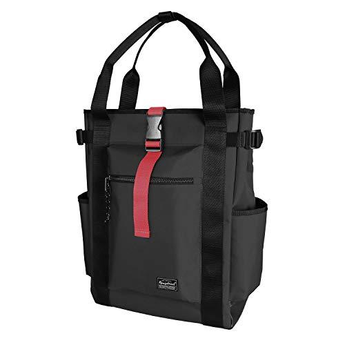 Rangeland Unisex Laptop Tote Backpack (Black) Sturdy Polyester Shoulder Bag with Multiple Pockets for Work Travel Gym College School, 18L
