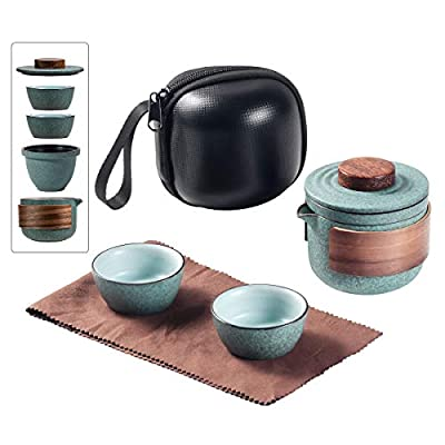 Mini Travel Ceramic Tea Pot Set Chinese Kung Fu Teapot, 1 Pot 2 Cups Porcelain Teacups with Tea Infuser Portable Bag for Outdoor Picnic (Green)