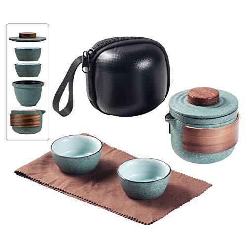 Mini Travel Ceramic Tea Pot Set Chinese Kung Fu Teapot, 1 Pot 2 Cups...