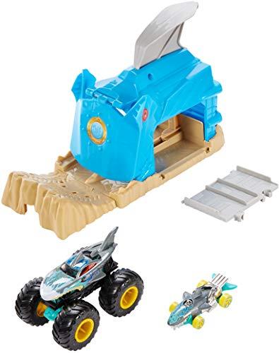 Hot Wheels - Garage Lanciatore Squalo con Veicolo Monster Truck e Macchinina Hot Wheels, 4+ Anni, GKY03