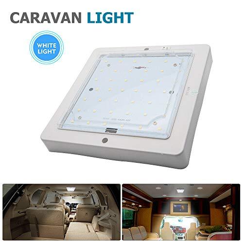 Jutta Luz LED para caravana de 12 – 24 V ON/OFF Downlight Camper Van Yacht Truck Motorhome Lámpara de techo con acabado cromado blanco