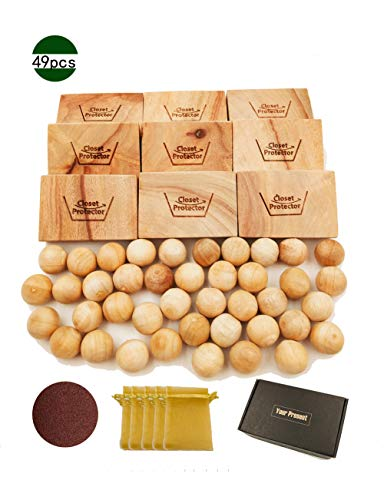L.M.&L.W. Cedar Blocks Lavender Sachets Cedar Balls Aromatic Alternative Perfect Clothes Closet Drawer Liners Home Essential Supplies 49 Packs/Set