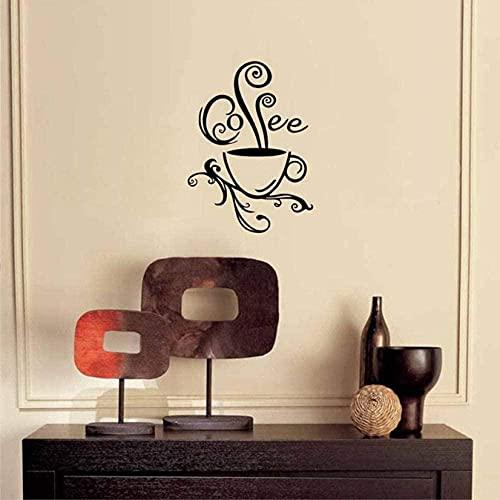 Art Mural Swirl Taza de café calcomanía de pared para cafetería y decoración de interiores vinilo arte aroma mural de cocina 57 x 77 cm Creative Wall Stickers
