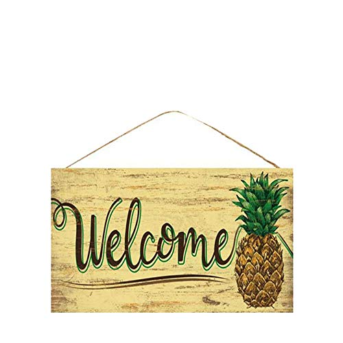 AJHERO Wooden Welcome Sign, Yellow Rustic Style Wood Hanging Plaque, 6