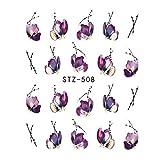 Fliyeong STZ508 - Pegatinas de uñas para manicura y decoración de uñas, diseño vintage con flores y mariposas