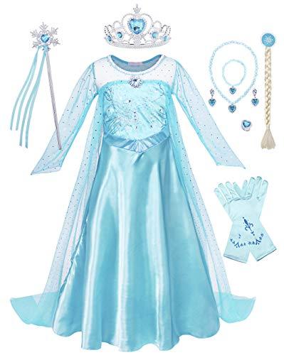 WonderBabe fantasia de menina vestido de cauda de manga comprida com lantejoulas vestido de princesa fantasia vestido de festa de aniversário carnaval com acessórios azuis - conjunto de 8 peças P078-110