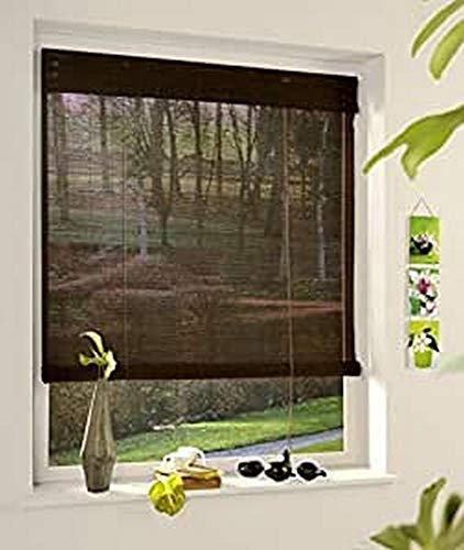 MADECOSTORE Store Enrouleur Roll'Up Bambou - Chocolat - L123 x H180cm - Fixation avec perçage - Store bois