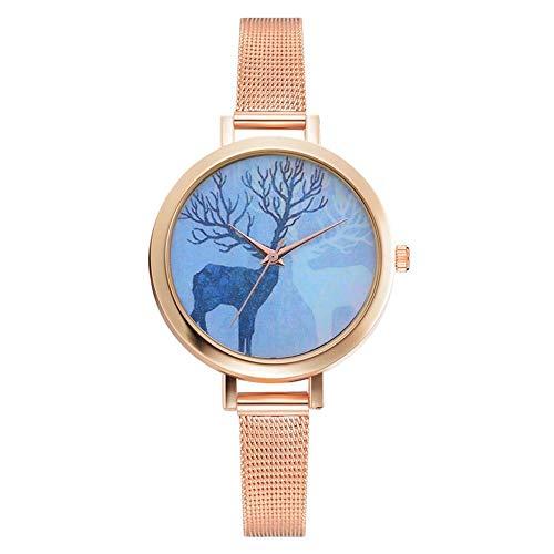 Dilwe Damenuhr, Elegante Uhr mit dünnem legiertem Netzarmband und großem runden Zifferblatt für Mädchengeschenk(Rose Gold)