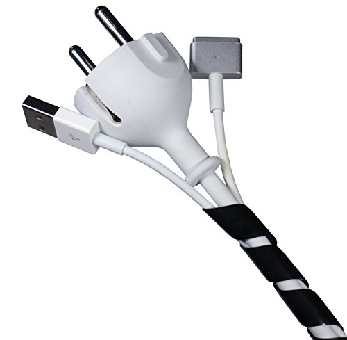 Flexowire Kabelspirale Spiralkabelschlauch 10 m 4-50 mm schwarz Kabelschlauch mit flexibler Bündelweite zum Bündeln von Kabeln z.B. am Computer, TV, HiFi-Anlage
