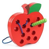 Coogam Holz Fädelspiel Apfel Motorikspielzeug Reise Spiel Montessori früh Lernen Feinmotorik Pädagogisches Geschenk für 1 2 3 Jahre alt Kleinkinder Kinder Baby