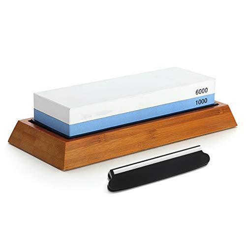 TYI Premium White Corundum Schärfstein, doppelseitiger Schleifstein 1000/6000, mit Rutschfester Silikonbasis, für die Küchenjagd