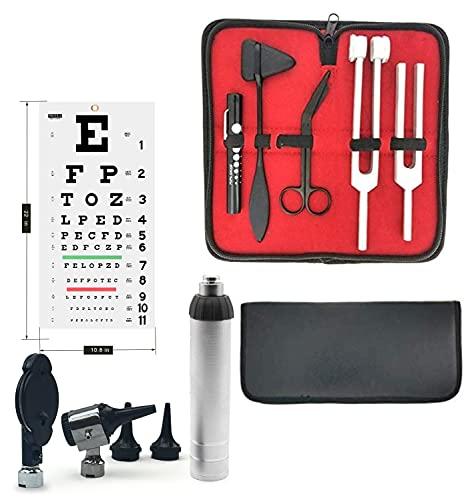 Tactical Black - Set of Multi Purpose Diagnostic kit for Neurological, EMT and Eye EXAM, Reflex Percussion Taylor Hammer + Penlight + Tuning Fork C 128 C 512 + Bandage Scissors 5.5'