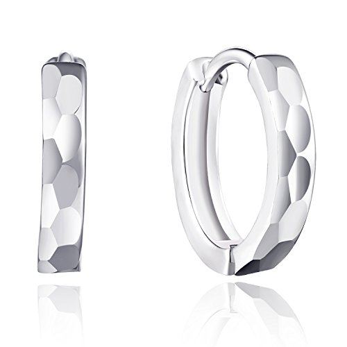 VOGUEA Silberfarbenes 925Sterling Silber Facetten Bubble Muster Schnalle Ohrringe