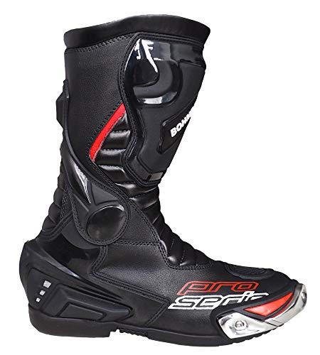 Bohmberg Herren Motorradstiefel Racing Sportstiefel, Wasserabweisend aus schwarzem Leder mit aufgesetzten Hartschalenprotektoren,Schwarz-Gr.42