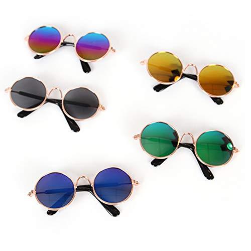HAORI Pet Goggles Cool Stijlvolle en grappige schattige huisdier zonnebril - bril set van 5 - klassieke retro ronde metalen Prince zonnebril voor kat, chihuahua of kleine honden - willekeurige kleur