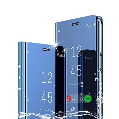 TOPOFU für Sony Xperia 5 II Hülle, Plating Smart Clear View Hülle Flip Handyhülle mit Standfunktion Anti-Scratch Bookstyle Tasche Schutzhülle für Sony Xperia 5 II (Blau)