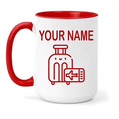 Taza de viaje personalizable en dos tonos, diseño de pasatiempos, regalo (rojo)