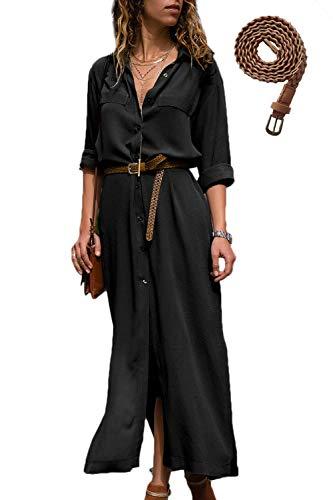 Suvimuga Damen Hemdkleid Lang V-Ausschnitt Sommer Blusenkleid Langarm Maxikleid Kleid mit Knopf schwarz M