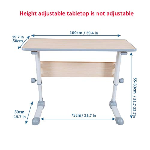 Steel Pipe Table For Over with White MDF,Lockable Casters, Adjustable Height,Laptop Stand Holder for Home Office Days Overbed Table