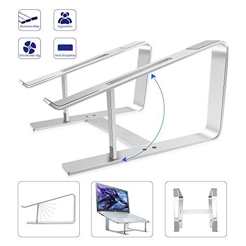 Laptop Riser Stand for Desk, Laptop Holder for Lap, Computer Stand for Laptop on Desk/Bed/Couch, Keep Laptop Cool, Compatible with All Different Bands 10-16 inch PC Notebook, No Shooking - Silver
