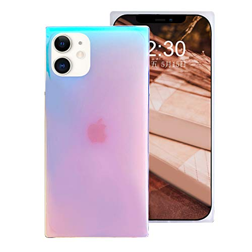Omorro for Square iPhone 12 Pro Case for Women, Bling Sparkly Laser Color Changing Designer Case Glitter Slim Thin Soft Flexible TPU Silicone Protective Light Mirror Iridescent Girly Case Purple
