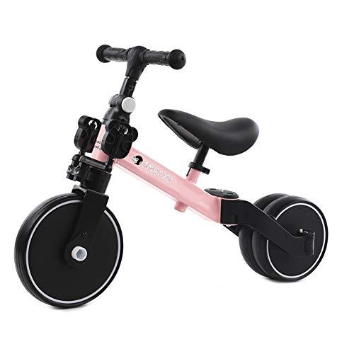 BIWOND Triciclo Jungle Mix (Modo Andador, Modo Triciclo, Modo Bicicleta, Ruedas Anchas, Manillar Antideslizante, Pedales Desmontables, Diferentes Posiciones) – Rosa