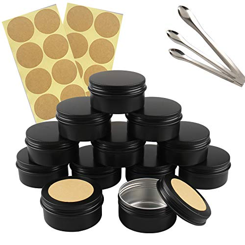 FBJIE 24 Pcs 80ml Black Aluminum Tin Jars with Screw Lids, Empty Round Cosmetics Lip Balm Containers Pots for DIY Candle, Salve Powder, Crafts, Storage Cans with 3X Alu Spoon, 24x Ø 5cm Labels