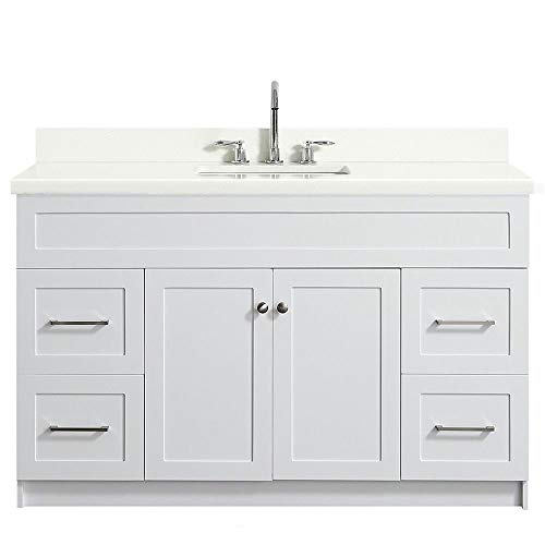 "ARIEL Hamlet F055S-WQ-VO-WHT 55"" Inch Single Rectangular Sink Bathroom Vanity Cabinet in White with White Quartz Countertop"