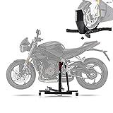Ruote doppie stabili e scorrevoli (incluse) per facilitare le manovre in garage, in officina o pista. Facilita l'uso del cavalletto centrale, in quanto la moto è in posizione eretta in modo sicuro