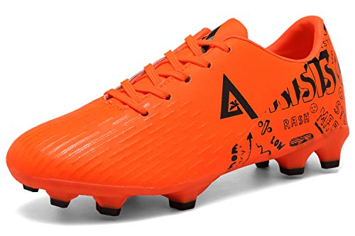 ANLUKE Kids Firm Ground Soccer Shoes Athletic Outdoor Sports Football Cleats (Little Kid/Big Kid) Orange 33