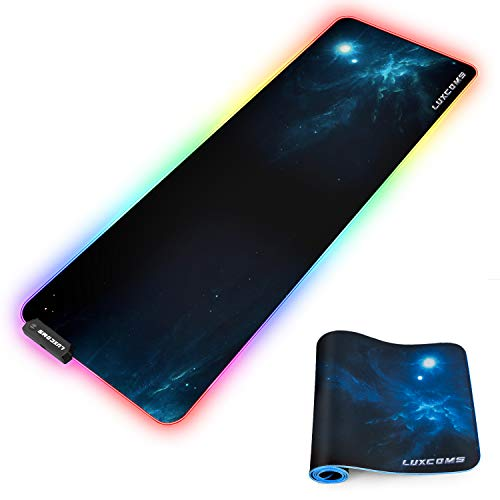 LUXCOMS RGB Soft Gaming Mouse Pad Large, Oversized Glowing Led Extended Mousepad, Non-Slip Rubber Base Computer Keyboard Pad Mat, 31.5X 11.8in