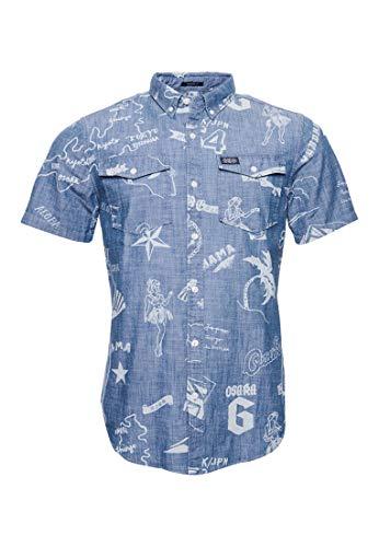 Superdry Herren Loom Worker Hemd Scrimshaw Durchgehend Bedruckt S