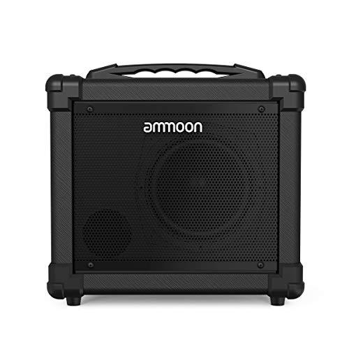 ammoon 10W Amplificador de Guitarra Eléctrico Portatil, Sonido Analógico, Soporte de Conexión BT, Doble Fuente de Alimentación