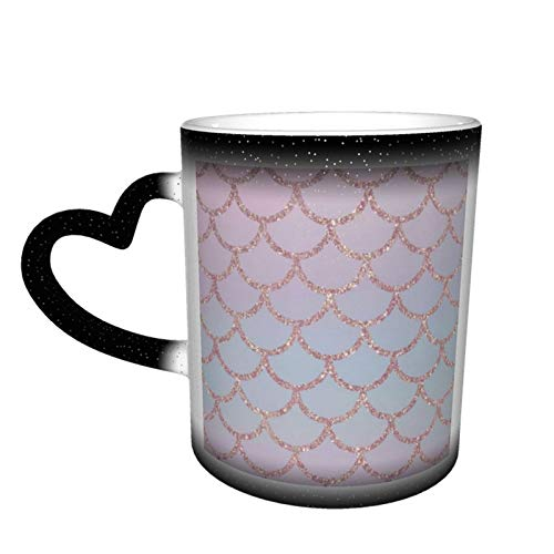 Rose Gold Mermaid Scales Color Change Coffee Mug Funny Ceramic Heat Sensitive Starry Sky Cup