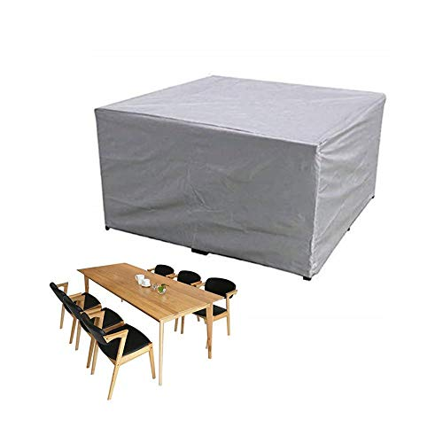 GUOXIANG Funda para muebles de jardín, rectangular, tejido de poliéster, impermeable, resistente al viento, resistente a los rayos UV, para mesa de jardín, color plateado, 240 x 240 x 85 cm