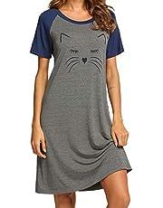 Ekouaer Womens Nightgowns Short Sleeve Nightshirts Printed Sleepwear Soft Sleep Shirts S-3XL