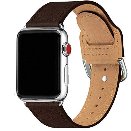 SUNFWR Armband Kompatibel mit Apple Watch 38 mm 40mm 42 mm 44mm,Dünn und leicht Lederband Ersatzband,Mehrere Farbbänder für die iwatch Serie 6/5/4/3/2/1,SE(38mm 40mm,Kaffee/Silber)