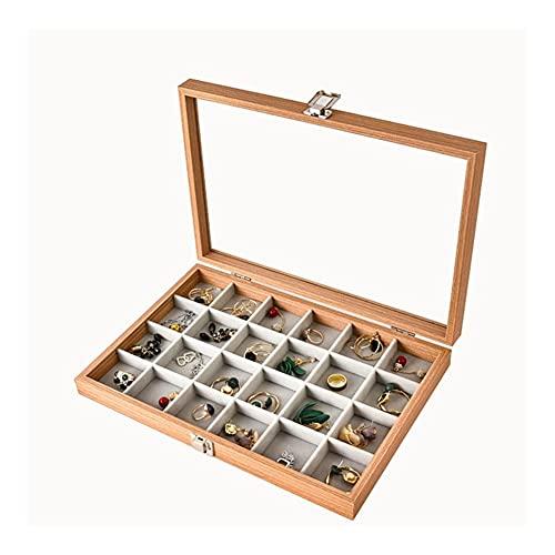 LYLY 24 cuadrículas Caja de exhibición de Joyas con Vidrio Mujeres joyería joyería Organizador Estuche de Viaje Estante de Almacenamiento