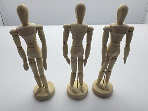 Janrax Set of 3-5.5 inch Artists Figure - 14cm Male Manikin Wooden Art Mannequin