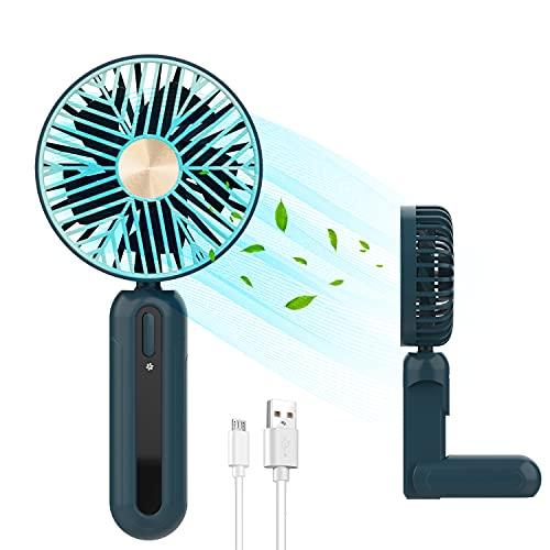 Wurkkos Ventilador de mano portátil mini ventilador eléctrico USB con batería recargable de 1200 mAh, plegable, compatible con portátil, enchufe multipuerto para viajes y hogar (verde)