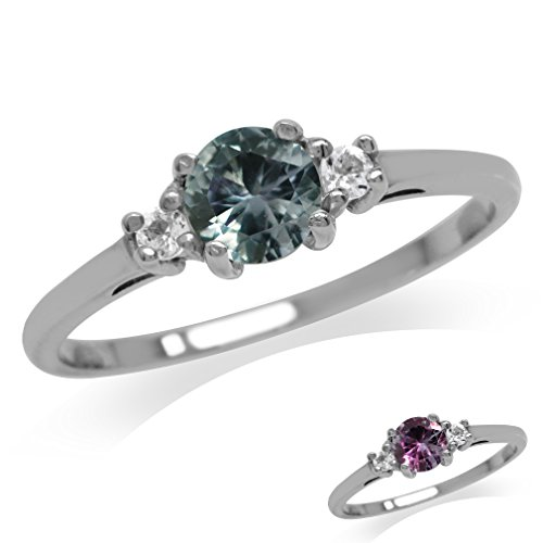 Silvershake Petite Simulated Color Change Alexandrite and White Cubic Zirconia 925 Sterling Silver Promise Ring Size 8.5