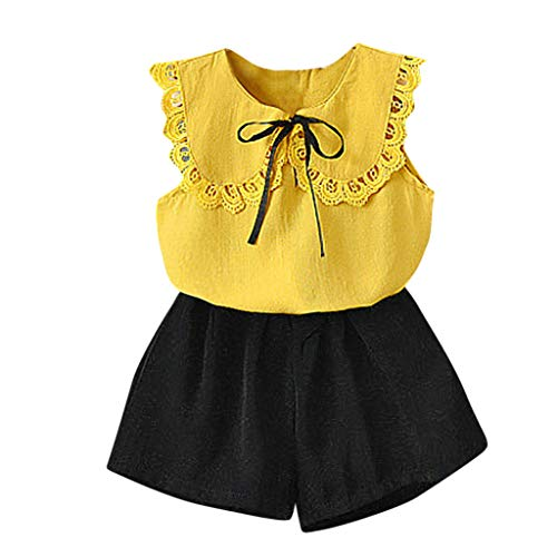 Baby Kinder Mädchen Spitze Peter Schwenken Halsband Tops Solide Kurze Hose Set Outfits