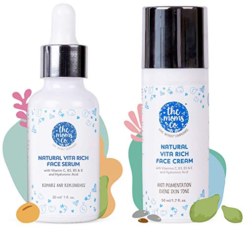 The Moms Co. Natural Vitamin C Face Serum for Deep Hydration,Pigmentation, Fine Lines & Wrinkles wit and The Moms Co. Face Cream, 50 ml