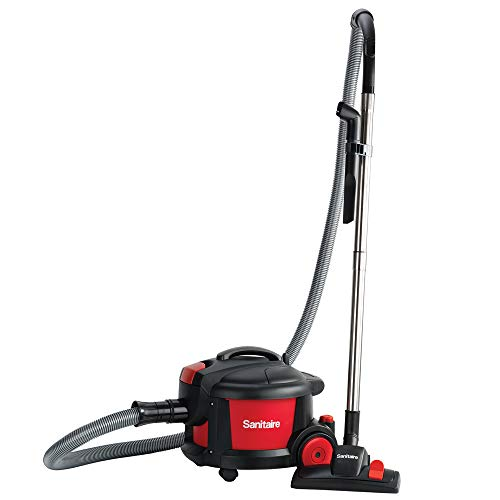 """Sanitaire SC3700A Quiet Clean Canister Vacuum, Red/Black, 9.0 Amp, 11"""" Cleaning Path."""