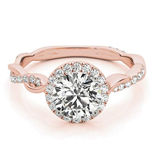 Halo Bridal Set Ring comes with Wedding Band with 1.50 cttw (1.00 Carat Center Stone) of Natural Round Shape Diamonds available in 14K White, Yellow or Rose Gold. Free Gift Box. Free Certificate.