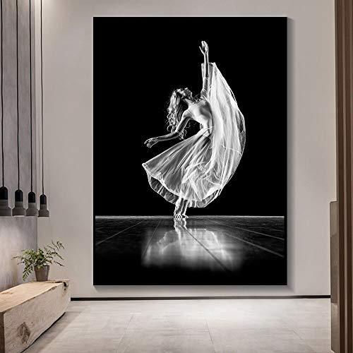 Mubaolei Póster en Blanco y Negro Bailarina Moda Sexy Mujer impresión Arte de Pared Lienzo Pinturas Modernas imágenes para decoración de Sala de Estar 60x80cm