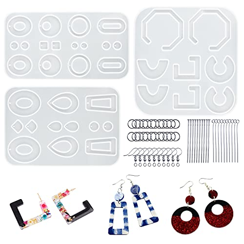 LET'S RESIN Resin Molds for Jewelry, 243pcs Earring Making Kit with 3pcs Resin Earring Molds, 40pcs Earring Hooks, 100pcs Jump Rings for Resin Jewelry,DIY Earring